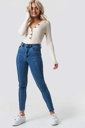 NA-KD Na Kd Highwaist Skinny Panel Jeans Mid Blue