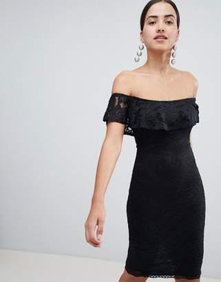 AX Paris Bardot Frill Overlay Lace Midi Dress