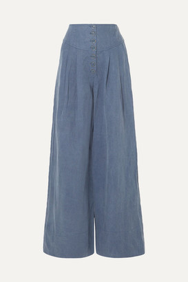 Ulla Johnson Reid Chambray Wide-leg Pants - Mid denim