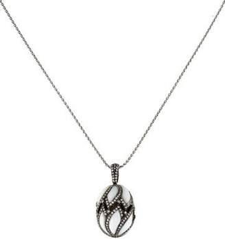 18K Diamond & Enamel Egg Pendant Necklace
