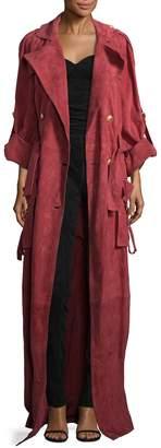 Balmain Women's Long Suede Coat