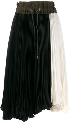Sacai color-block pleated skirt