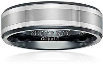 Triton Men's Scott Kay Brute Titanium Aurora Band with Black and Grey Silver Edges Wedding Bands