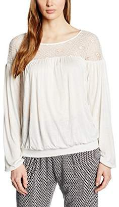 Benetton Women's Lace Shoulder Long Sleeve Tops,Small