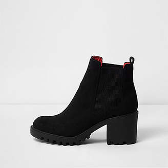 River Island Black faux suede wide fit chunky boots