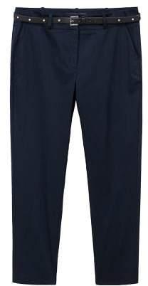 Violeta BY MANGO Belt cotton-blend pants
