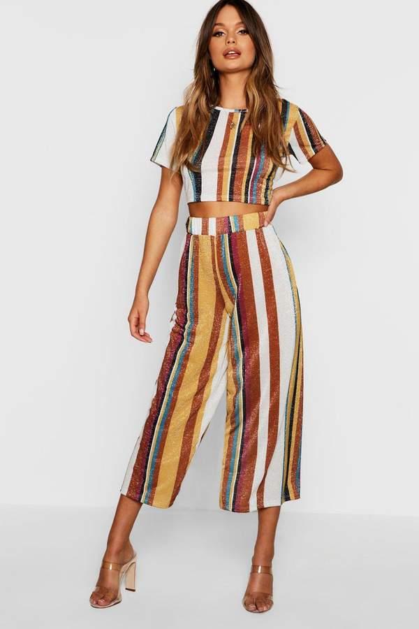 Knitted Cropped Stripe Metallic Set