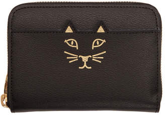 Charlotte Olympia Black Mini Feline Zip Wallet