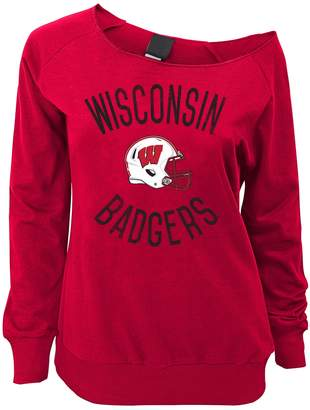 Juniors' Wisconsin Badgers Flashdance Slouch Crewneck