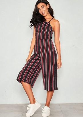 0123d253cf2 Missy Empire Missyempire Teri Black Striped Tie Up Back Culotte Jumpsuit