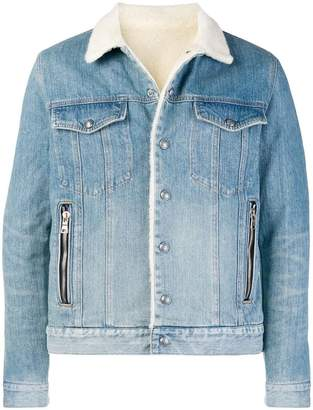 Balmain shearling denim jacket