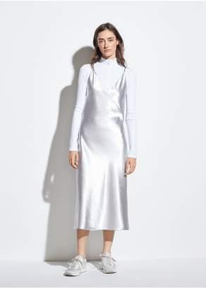Vince Metallic Satin V-Neck Dress
