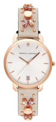 Rebecca Minkoff Billie Studded Leather Strap Watch, 34mm