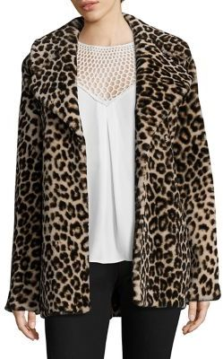 A.L.C.A.L.C. Stone Leopard-Print Shearling Coat