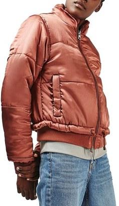Women's Topshop Carter Satin Puffer Jacket $130 thestylecure.com