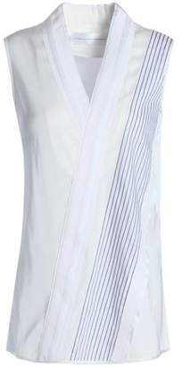 Victoria Beckham Victoria Wrap-Effect Paneled Striped Cady And Poplin Top