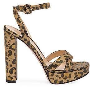 Gianvito Rossi Women's Poppy Leopard-Print Metallic Leather Platform Sandals