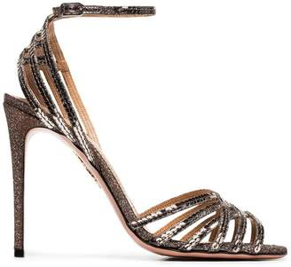 Aquazzura metallic Studio 105 sequin leather sandals