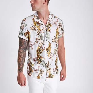 River Island White tape tiger print revere shirt