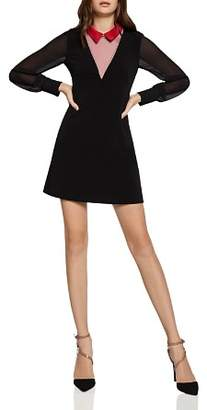 BCBGeneration Layered-Look Collared A-Line Dress