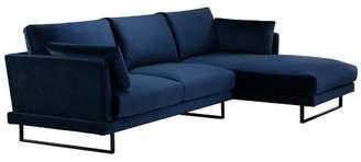 3 Seater Navy Velvet Zanda L-Shaped Sofa Chaise Side: Right