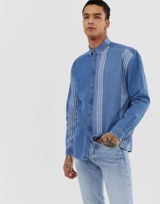 add8ac8295 Asos Design DESIGN oversized vintage style stripe denim shirt