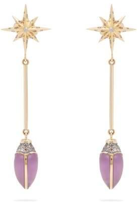 Bibi Van Der Velden - Scarab Star Earrings - Womens - Purple