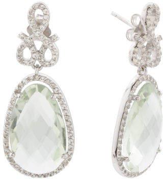 Made In Turkey Sterling Silver Amethyst Sapphire Earrings