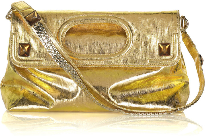 Stella McCartney Metallic linen fold-over clutch