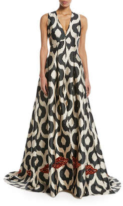 Sachin + Babi Erva Embellished Puddle-Hem Gown