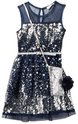 Beautees Illusion Neck Belted Sequin Dress with Accessory Bag (Big Girls)