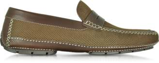 Moreschi Bahamas Brown Perforated Nubuck Driver Shoes w/Rubber Sole
