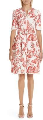 Oscar de la Renta Toile Print Belted Zip Front Dress