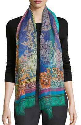 Etro Floral Paisley Dip-Dye Scarf, Turquoise $330 thestylecure.com