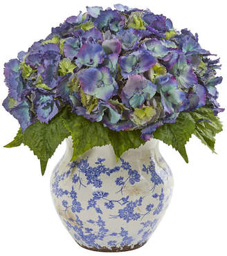 Nearly Natural Hydrangea Artificial Arrangement in Large Floral Vase