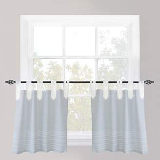 B Smith Park Nordic Bands Chambray Tier Kitchen Window Curtain Set