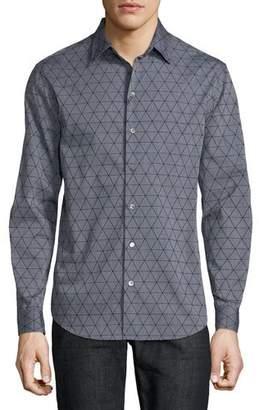 Emporio Armani Men's Geometric-Flocked Button-Front Long-Sleeve Cotton Woven Shirt