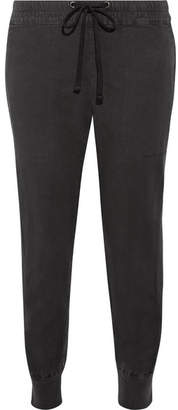 James Perse Cropped Cotton-blend Twill Track Pants - Charcoal