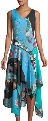 Neiman Marcus Patchwork Floral V-Neck Sharkbite-Hem Dress