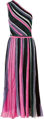 Missoni One-shoulder Pleated Metallic Stretch-knit Midi Dress - Pink