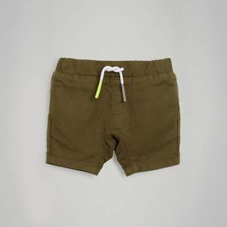 Burberry Childrens Drawcord Cotton Linen Twill Shorts