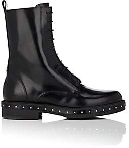 Barneys New York Women's Stud-Detailed Spazzolato Leather Combat Boots - Black