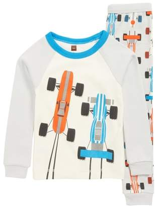 Tea Collection Racecar Print Fitted Two-Piece Pajamas