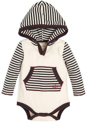 Burt's Bees Candy Cane Stripe Hooded Baby Boys Organic Bodysuit