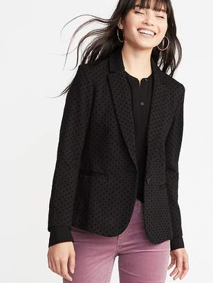Old Navy Ponte-Knit Flocked-Dot Blazer for Women