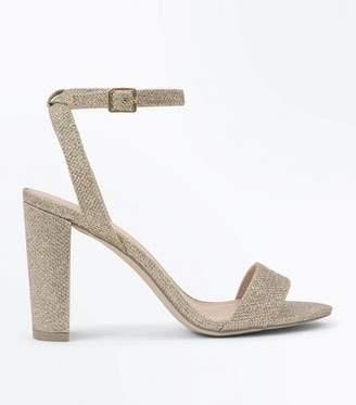 720a645cc153 New Look Gold Glitter Block Heel Sandals