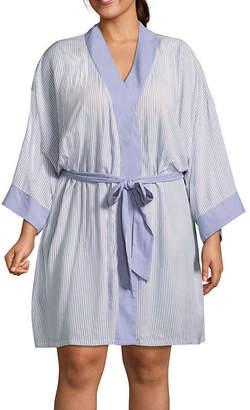 Ambrielle Long Sleeve Woven Kimono Robes-Plus