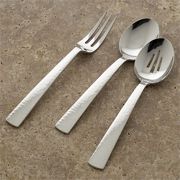 Mesa 3-Piece Serving Set: serving fork, serving spoon, pierced serving spoon.
