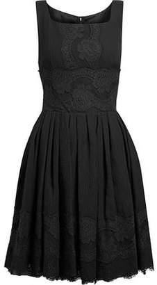 Dolce & Gabbana Lace-Trimmed Pleated Silk-Blend Gauze Dress