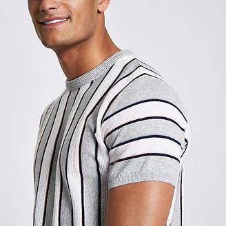 River Island Grey stripe slim fit T-shirt